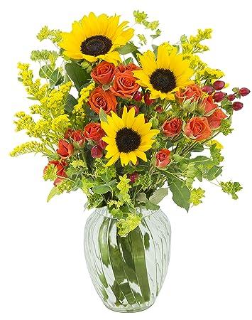 Amazon Summer Sunset Sunflower Mixed Bouquet With Free Vase