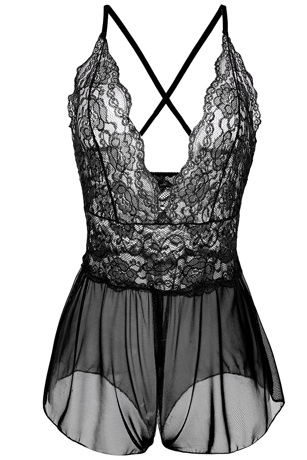 9f962e54eb2d3 This women lingerie bodysuit has crisscross straps in the back and the  straps are adjustable just like the straps on a bra. Deep V halter lingerie  one piece ...