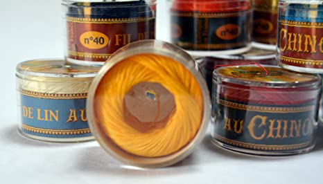 No 363 YELLOW Fil Au Chinois WAXED LINEN Single Ply Sewing Thread 50m Capsule