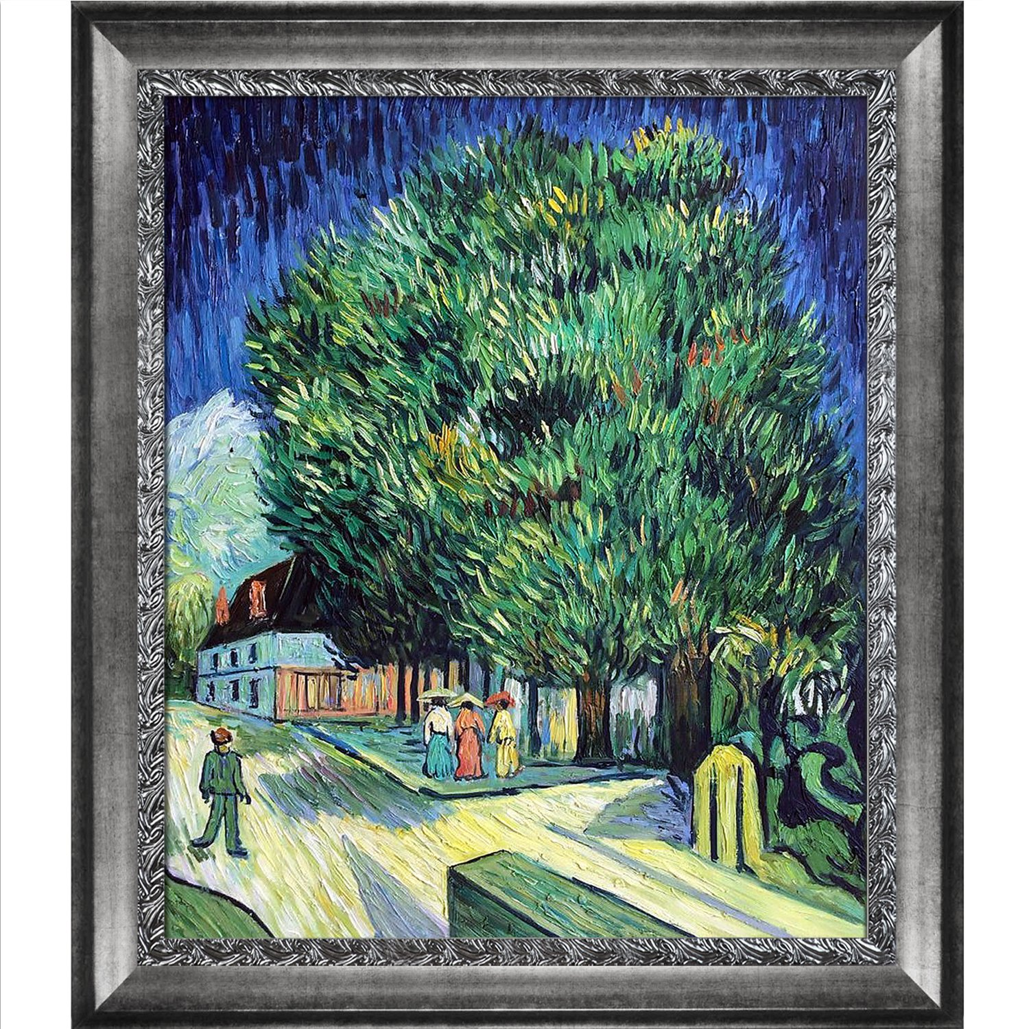 overstockArt Chestnut Trees in Blossom by Van Gogh with Distressed Ornate Silver Combo Frame