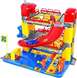 Junior Toy Garage, Three Levels with working Lift and Six Cars