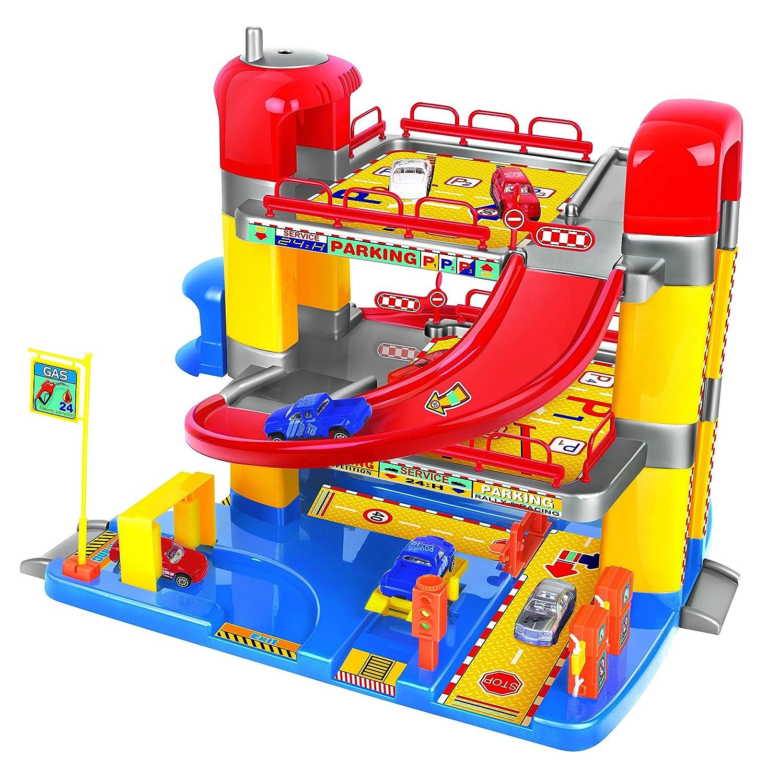 Charmant Garage Enfant Solide #14: Jouet Garage Pour Enfant - Trois Niveaux/ascenseur Qui Fonctionne - 6  Voitures Comprises: Amazon.fr: Jeux Et Jouets