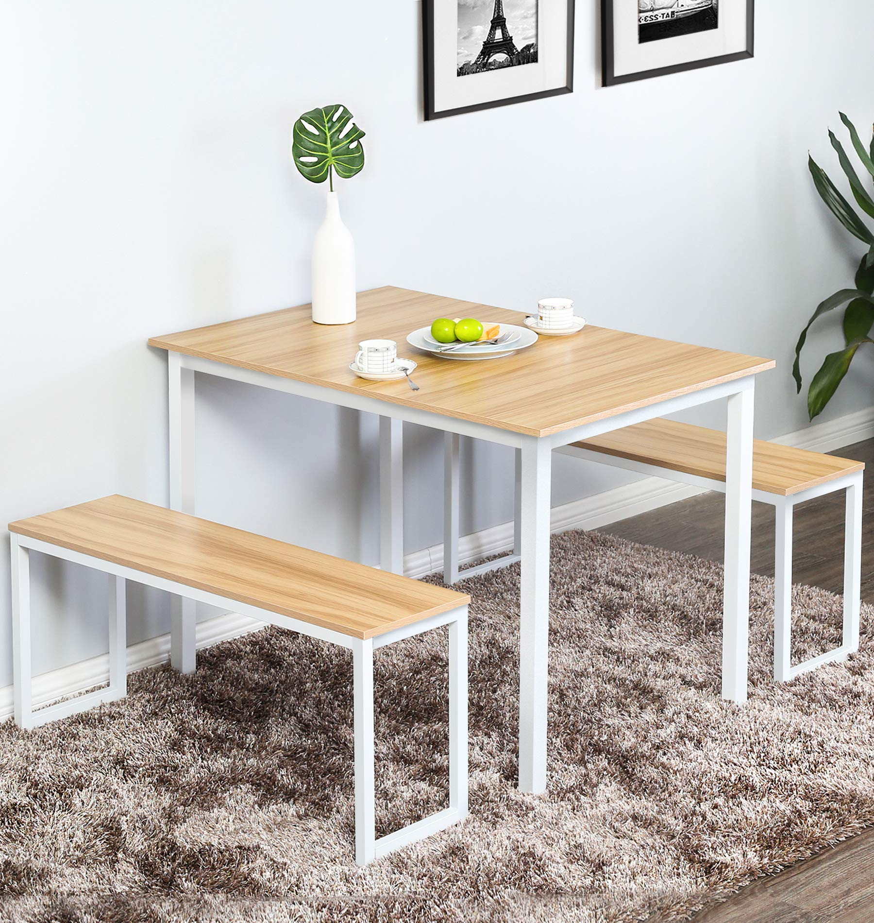 Homury Modern Studio Soho Dining Table with Two Benches 3 Piece Set,White by Homury