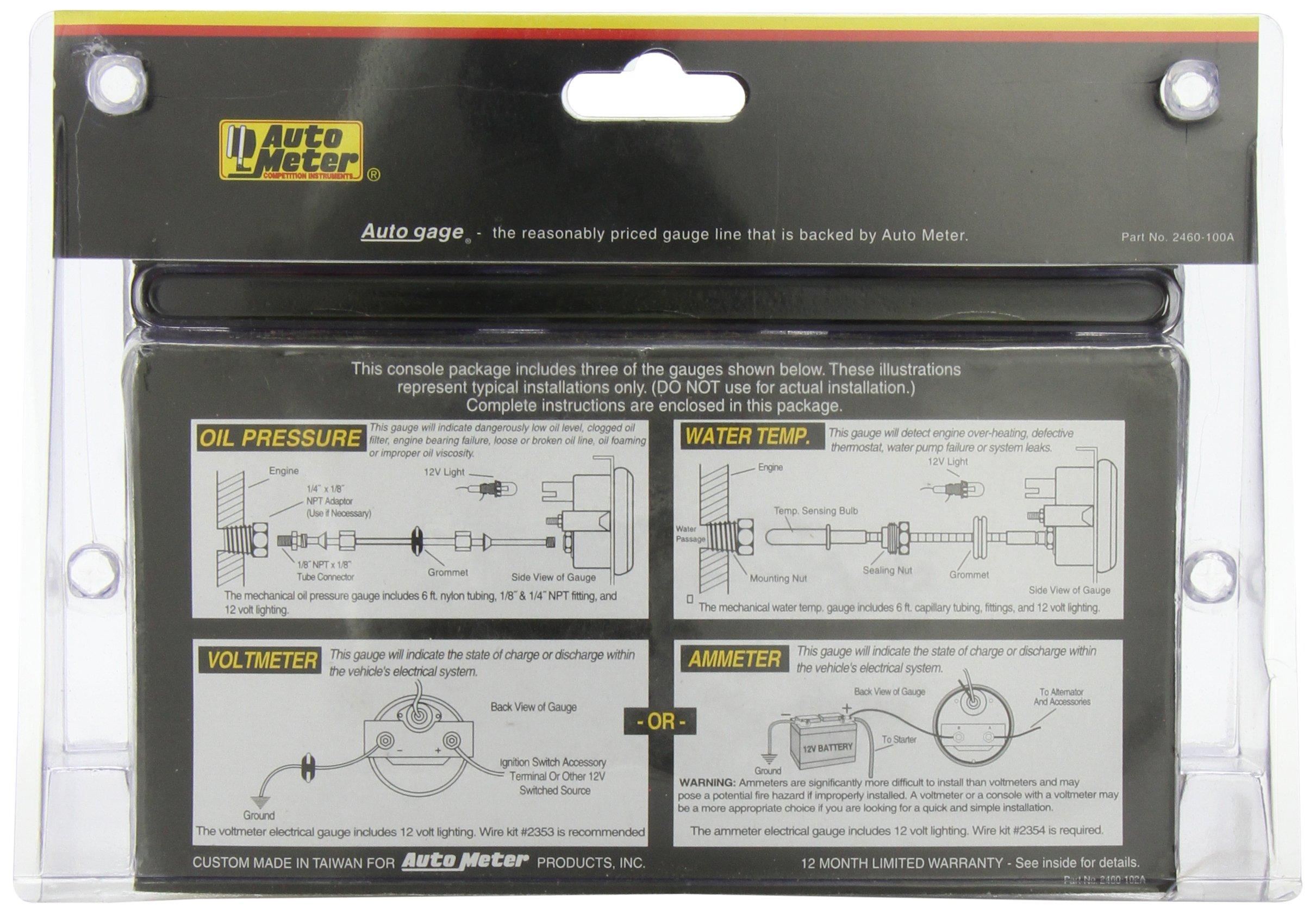 Auto Meter 2397 Autogage Black Console Oil Volt Water Gauge Show Details For 2306 Mini Tachometer