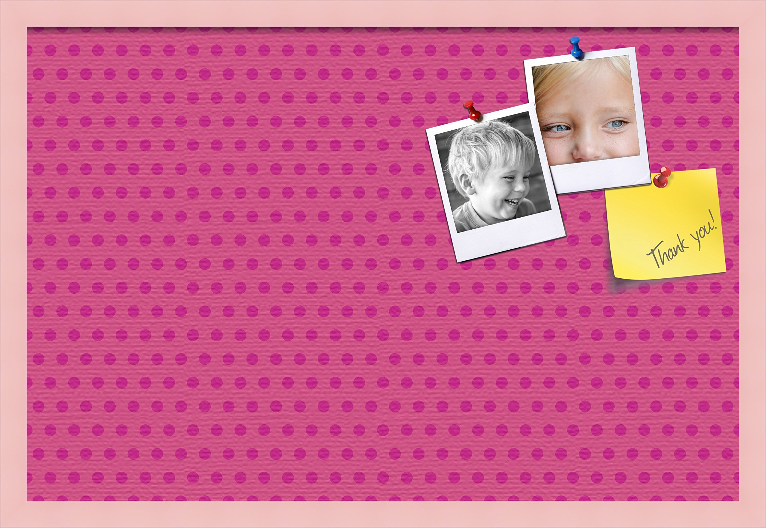 PinPix custom printed pin cork bulletin board made from canvas, Colorful Pattern 30 x 20 Inches (Completed Size) and framed in Baby Pink Stain on Beech (PinPix-450)