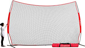 PowerNet 16 ft x 10 ft Sports Barrier Net | 160 SqFt of Protection | Safety Backstop | Portable EZ Setup Barricade for Baseball, Lacrosse, Basketball, Soccer, Field Hockey, Softball