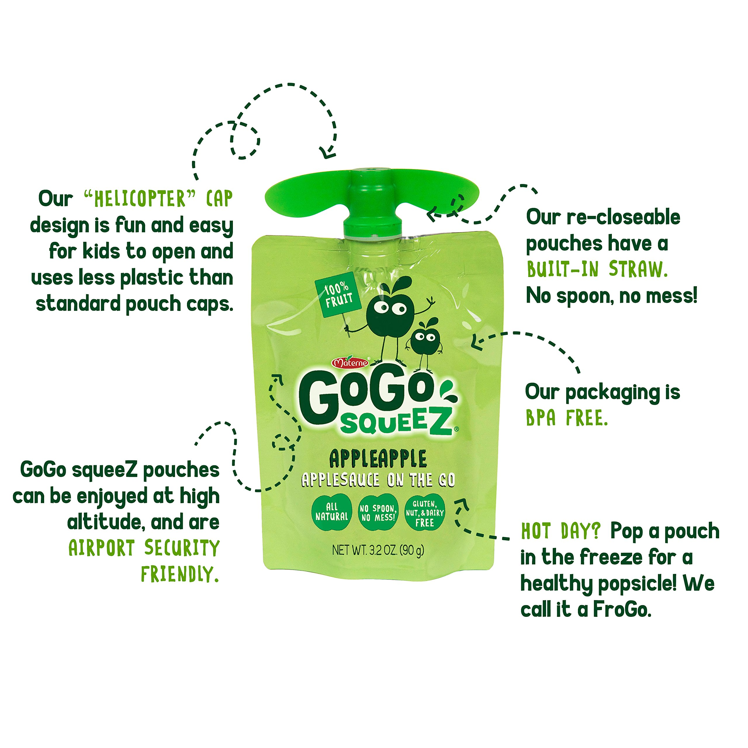 GoGo squeeZ Applesauce on the Go, Apple Apple, 3.2 Ounce Portable BPA-Free Pouches, Gluten-Free, 18 Total Pouches