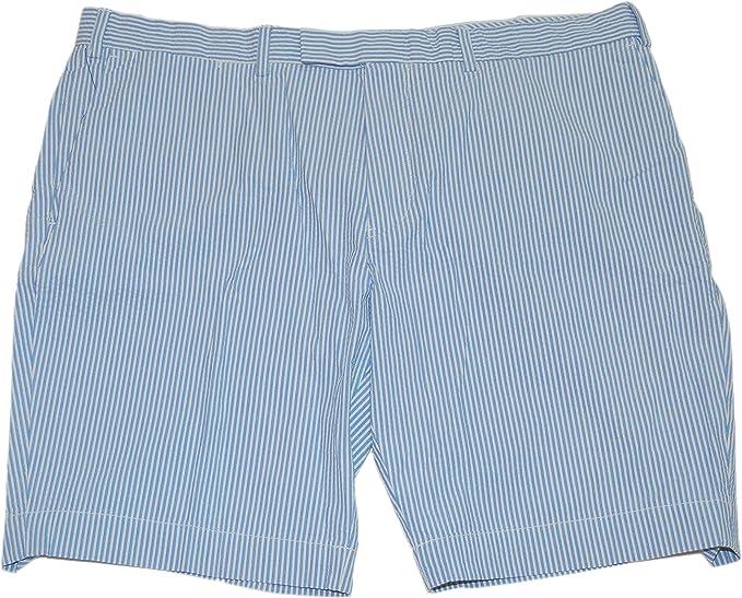 Ralph Lauren Polo Mens Flat Front Seersucker Khaki Chino Shorts