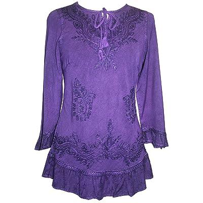 Agan Traders 147 B Gypsy Medieval Ruffle Top Tunic Kurta Blouse India at Amazon Women's Clothing store
