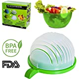 New 2017 Salad Cutter Bowl 60 Second & Green Plastic Portable Bowl. Original Magic Manual Salad Maker Strainer Chopper. Supper Fast Simple To Slice Fruit Vegetable. Best Healthy Fresh Salads Made Easy