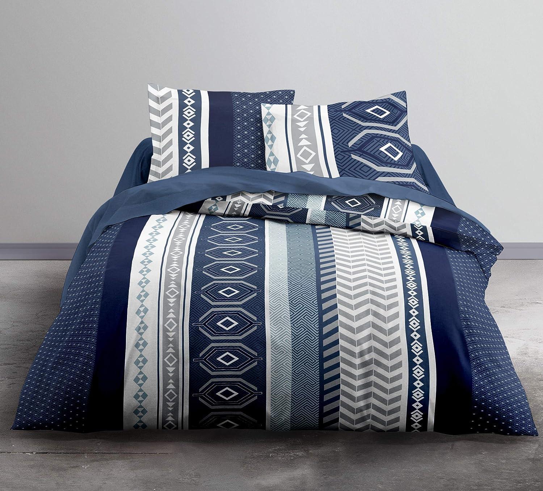 Today Enjoy - Juego de Cama HC3, Funda nórdica de 220 x 240 cm y 2 Fundas de Almohada 100% algodón, 57 Hilos, Gris, Blanco, Azul, 240 x 220 cm: Amazon.es: Hogar