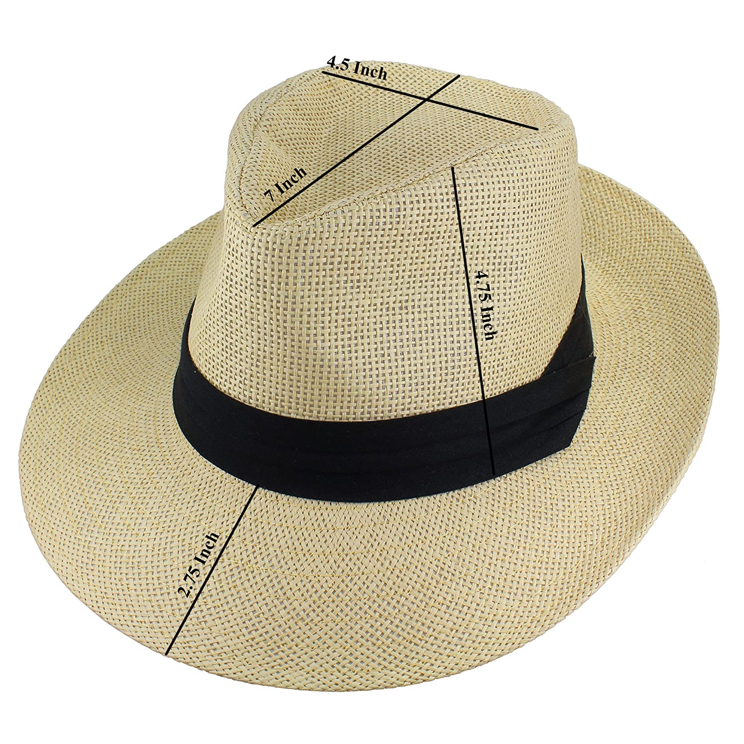 00029a94d795f Gelante Wide Brim Summer Fedora Panama Straw Hats with Black Band at Amazon  Men s Clothing store