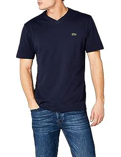06b7a2591e LACOSTE 3 Pack T-shirt pour hommes, col en V, coupe ajustée ...
