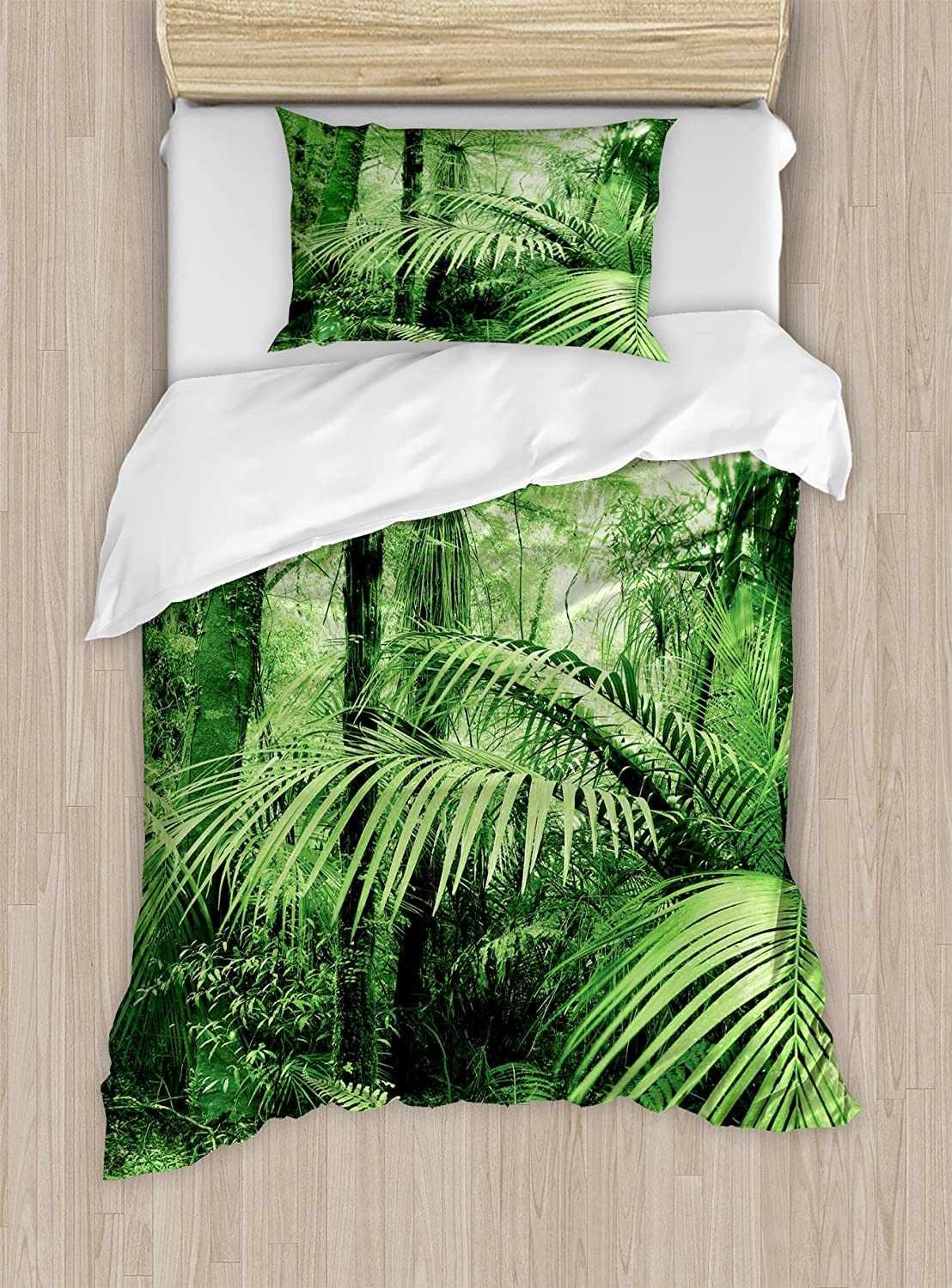 Ambesonne Rainforest Duvet Cover Set Twin Size, Palm Trees and Exotic Plants in Tropical Jungle Wild Nature Zen Theme Picture Illustration, A Decorative 2 Piece Bedding Set with 1 Pillow Sham, Green