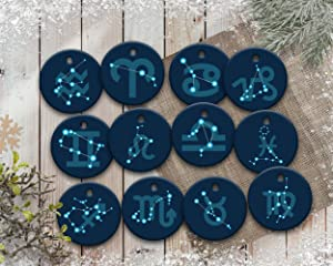 rfy9u7 Zodiac Sign Custom Ornament, Christmas Astrology Ornaments, Zodiac Birthday Ornament Gift for Family Members, Friends, 3 Inch Ceramic Holiday Home Decor