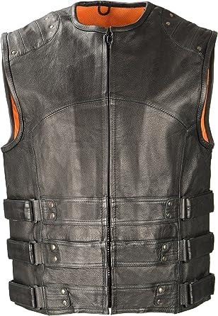 Black, XXX-Large Milwaukee Leather Mens 1.2mm Premium Leather Vented MC Jacket