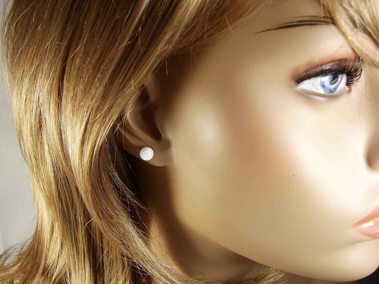 Opal Ball Stud Earrings Gold Filled 6mm Opal Earring White Synthetic Opal Bead Earrings Bridesmaid