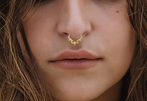 Amazon Com 14k Gold Septum Ring Solid Gold Piercing Jewelry