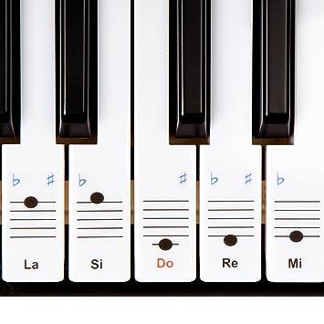 Keysies - Pegatinas removibles de plástico transparente para teclas de piano y teclado, incluye guía práctica de instalación (idioma español no ...