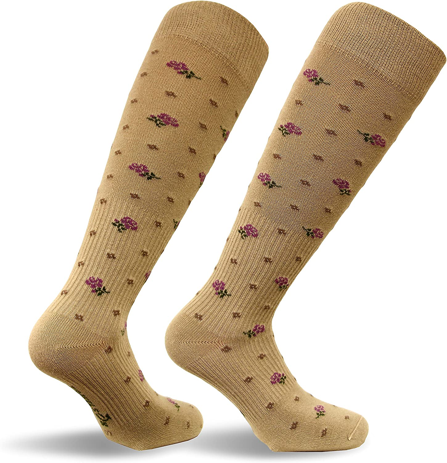 Travel Play, Travelsox Italy Ladies Graduated Compression Socks TS0867 Floral Womens Coolmax Dress