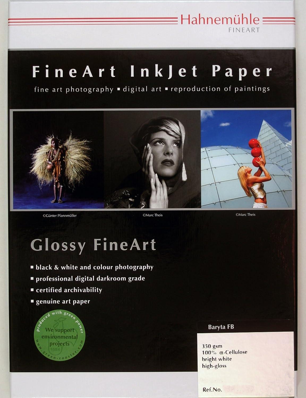 350 g//m/² Hahnem/ühle 10641675 Digital FineArt Baryta FB Papier 210 x 297 mm DIN A4 hellwei/ß
