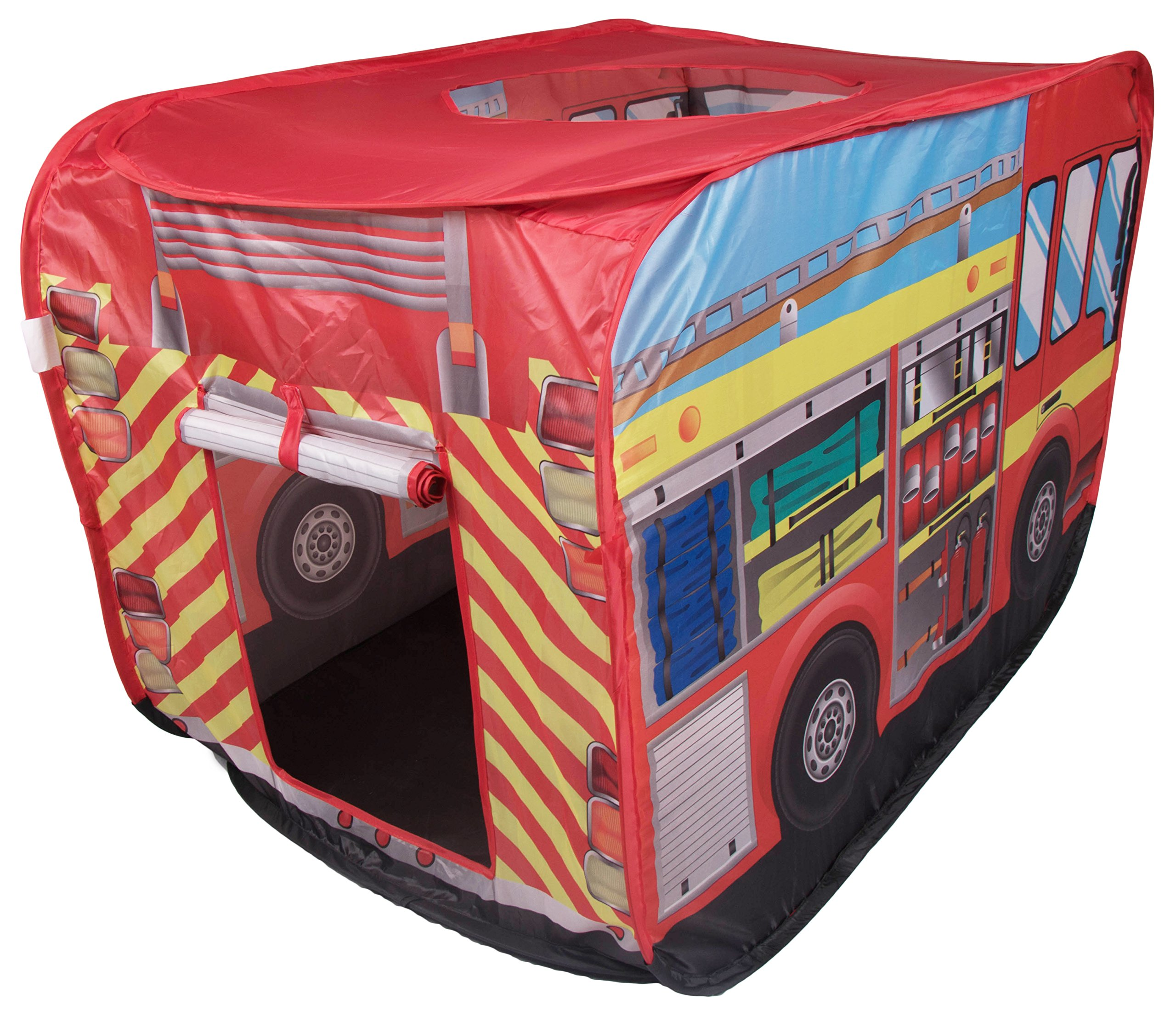 Fire Truck Indoor/Outdoor Play Tent by Clever Creations   Fire Truck Design Perfect for Fireman Themed Room Hideout for Kids   Simple, Fast Set up and Takedown   No Tools Needed   Creative Play Tent