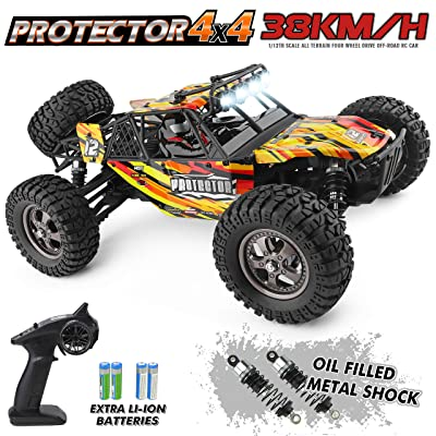HAIBOXING 12815 RC Car 1:12 Scale 4WD Off-Road Remote Control Car 38+KM/H High Speed, 2.4 GHz All Terrain Waterproof Radio Controlled Cars with 2 Rechargeable Batteries, RTR Electric RC Trucks Hobby: Toys & Games