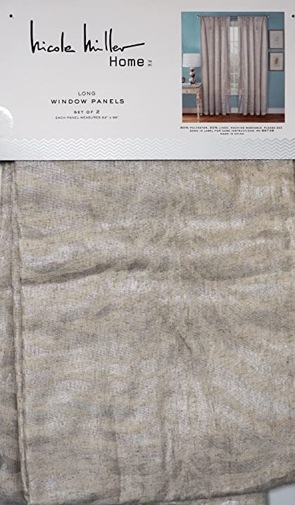Nicole Miller Pair Of Window Curtains Panels Set Of 2 Silver Geometric  Stripe Pattern On Natural