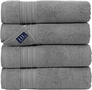 Hammam Linen 100% Cotton 27x54 4 Piece Set Bath Towels Cool Grey Soft and Absorbent, Premium Quality Perfect for Daily Use 100% Cotton Towels