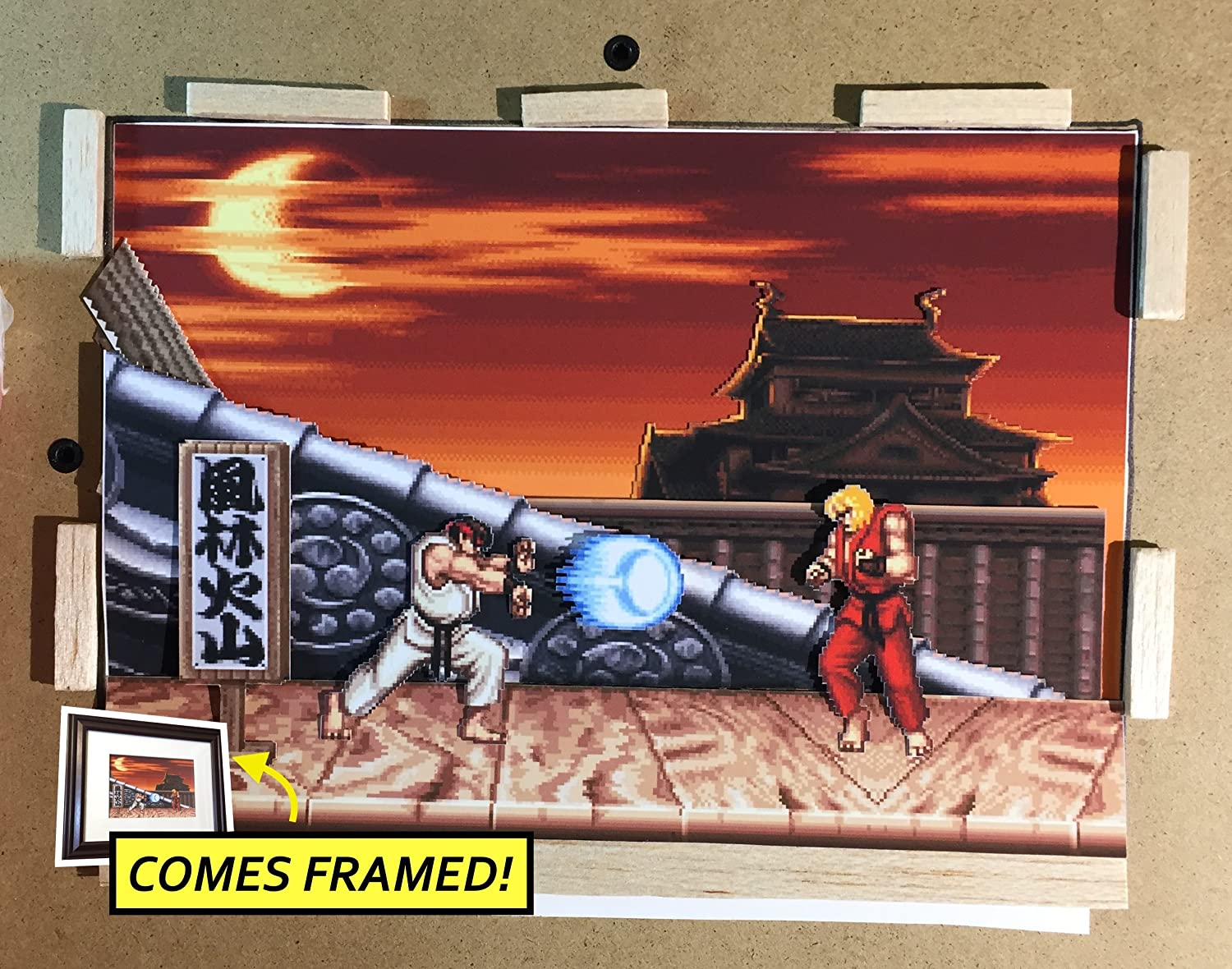 Amazon Com Street Fighter 2 Diorama Framed Artwork Snes Handmade