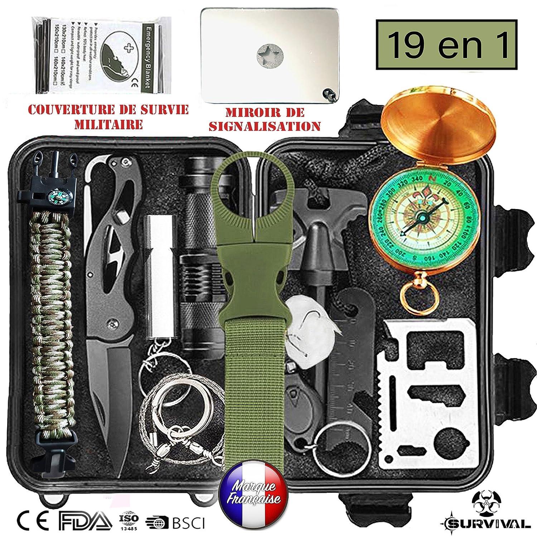 Kit de supervivencia de emergencia multiherramientas, 19en1 equipo de ataque y defensa para acampada, senderismo, exteriores, viajes, caza, orientación y más
