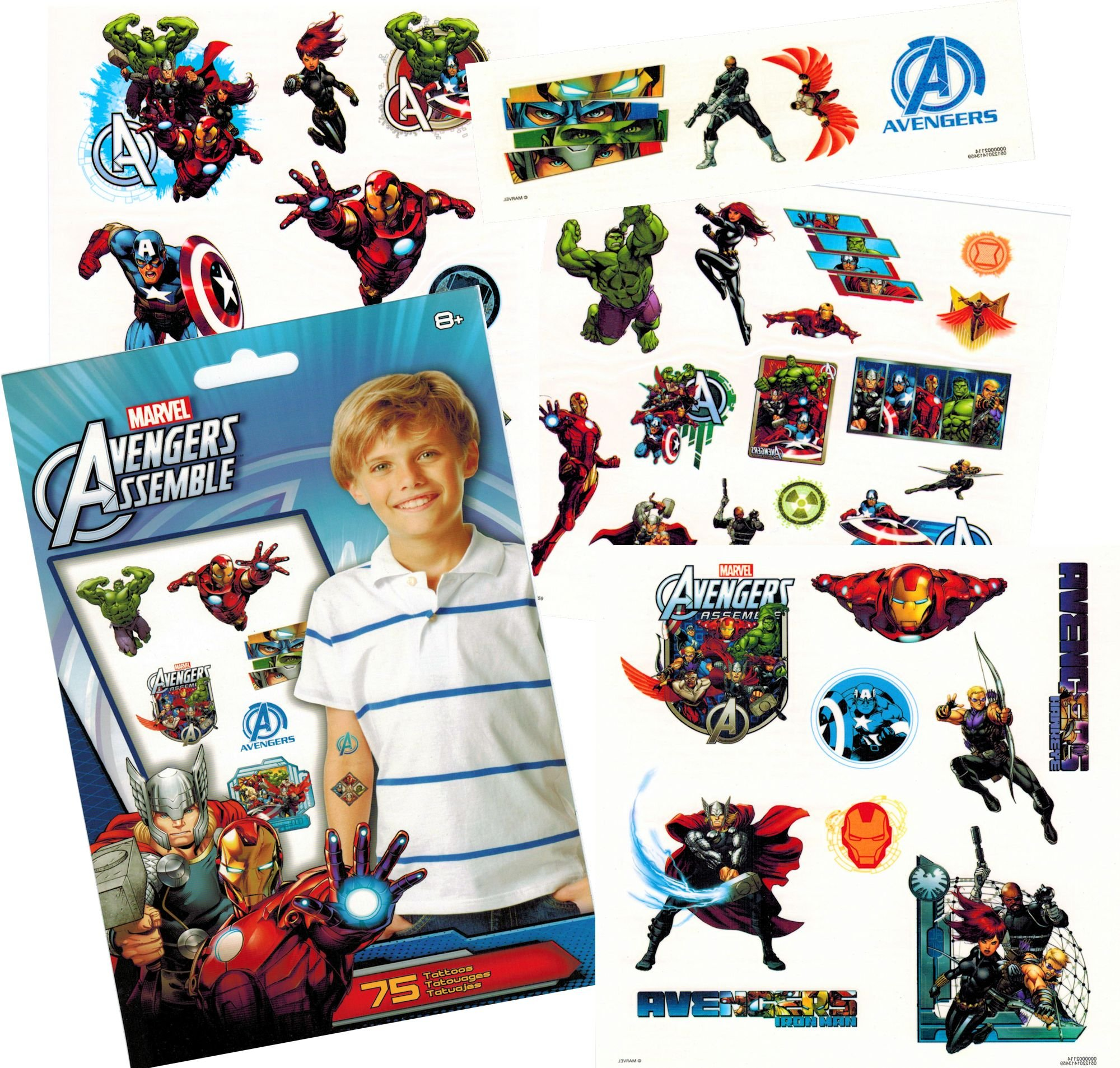 Marvel Avengers Temporary Tattoos (75) Iron Man, Thor, Hulk, Captain America and More!