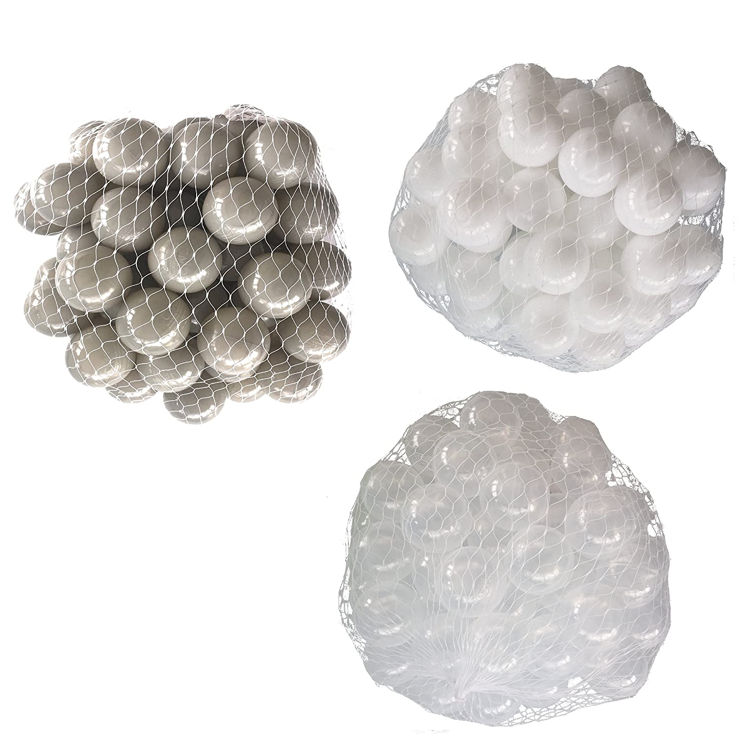 Balls for Ball Pool Mix Set with clear, white and grey. mybällebad