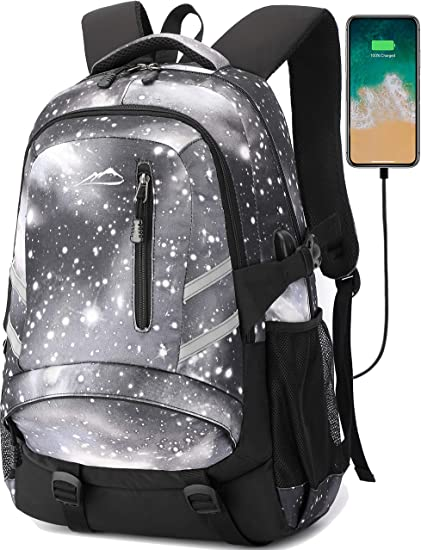 Galaxy Backpack Bookbag For School College Student Travel Business With USB C...