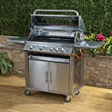 Fire Mountain Premier 4+1 Burner Gas Barbecue with Free Propane Regulator - Stainless Steel, Side Burner, Cast Iron Grill & Hot Plate, Rotisserie