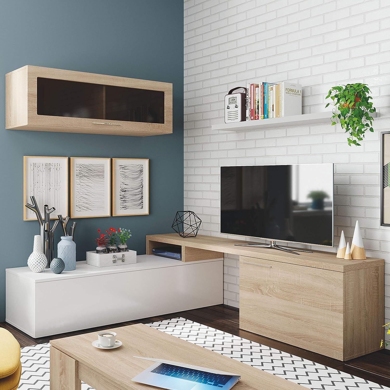 Habitdesign 016667F-Mueble de salón Comedor Moderno, Medidas: 200x41/34x43 cm de Alto (Blanco Brillo Canadian), Roble
