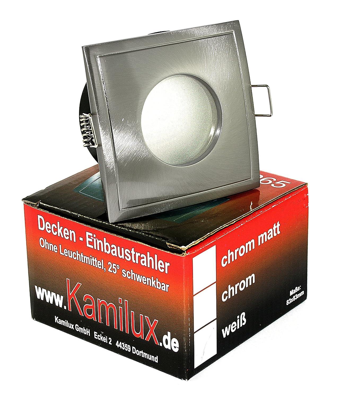 Decken Einbauspots IP65 Aqua Bad U0026 Dusche Feuchtraum Nassraum, Eckig Oder  Rund, 12V Und 230V Für LED Oder Halogen Leuchtmittel (eckig  Edelstahl Gebürstet): ...