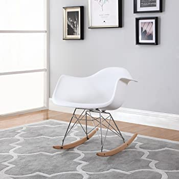 Superbe Divano Roma Furniture Modern Set Of 2 Eames Style Rocking Armchair Natural  Wood Legs In Color White, Black Red (White)