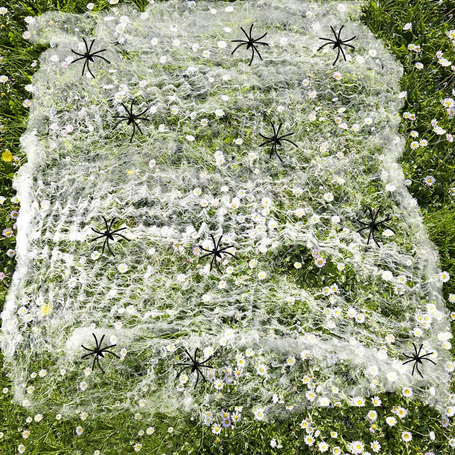 Halloween Fake Stretch Spider Webs for Indoor and Outdoor Decorations /& 50 Fake Spiders