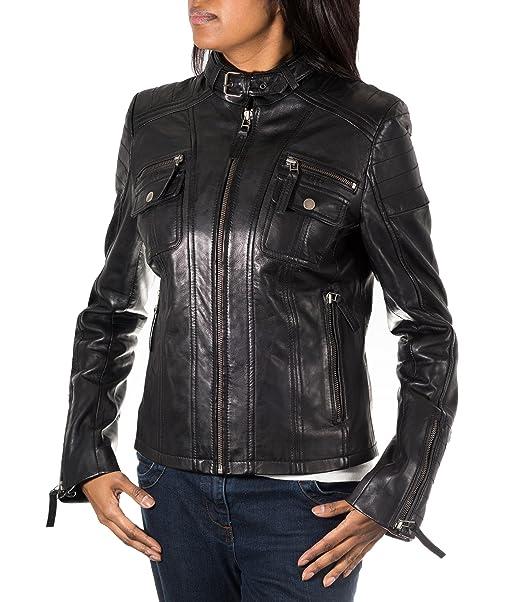 Mujeres Negro real suave napa motorista del cuero de la chaqueta. Equipada delgada. De moda y elegante.: Amazon.es: Ropa y accesorios