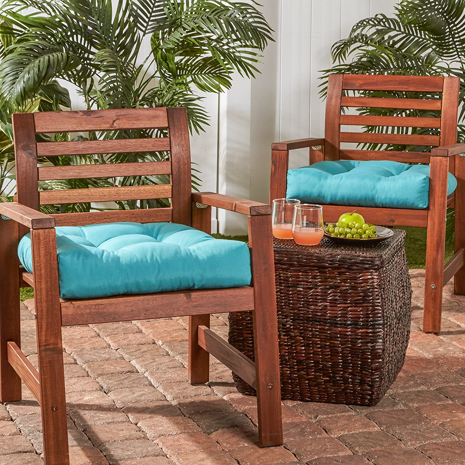 Greendale Home Fashions 20-inch Outdoor Chair Cushion set of 2 , Teal
