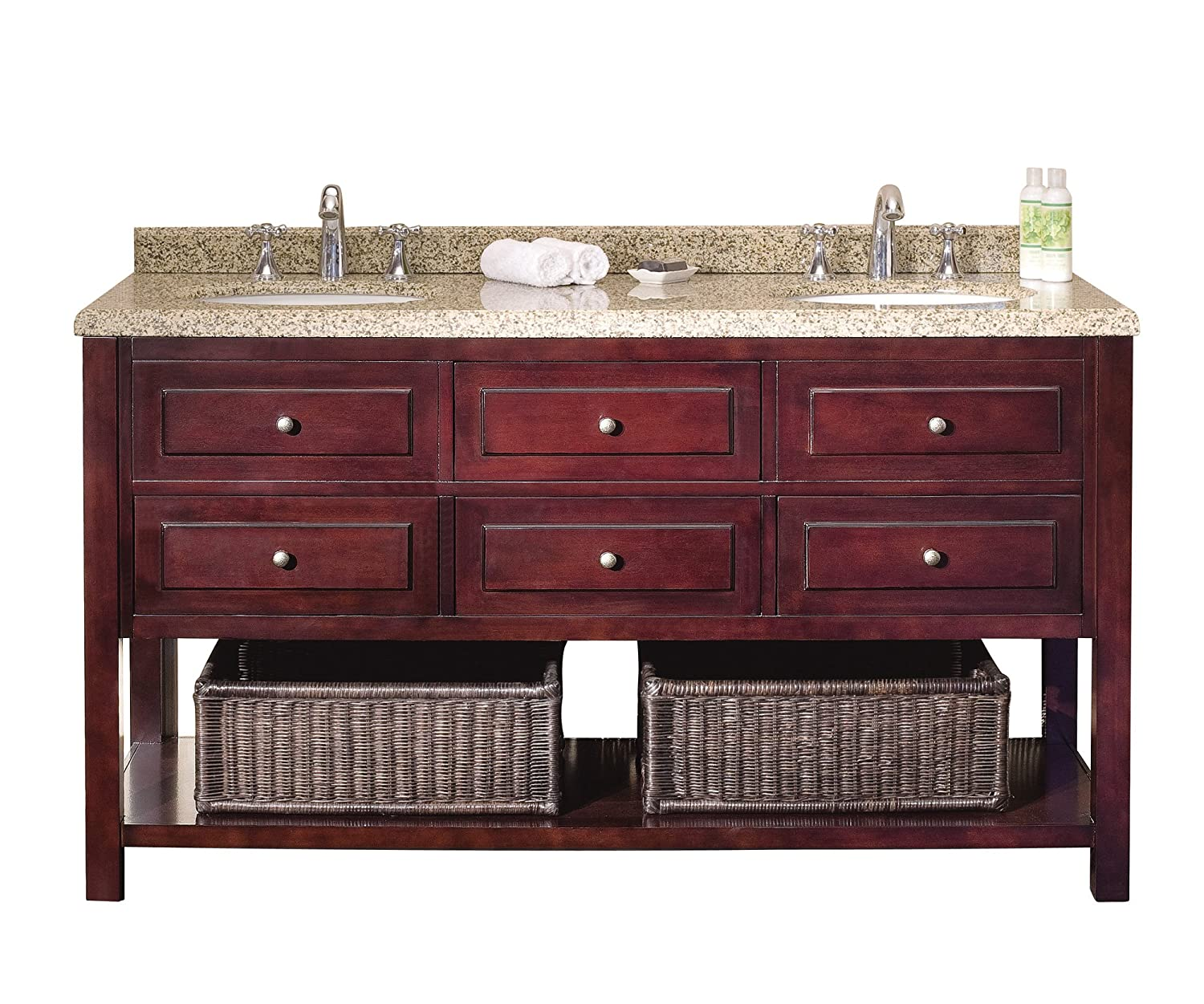 Double Vanity.Ove Decors Danny 60 Bathroom Double Vanity With Brown Peppered Granite Countertop And Two Undermount Ceramic Basins Warm Chocolate 60 Inch
