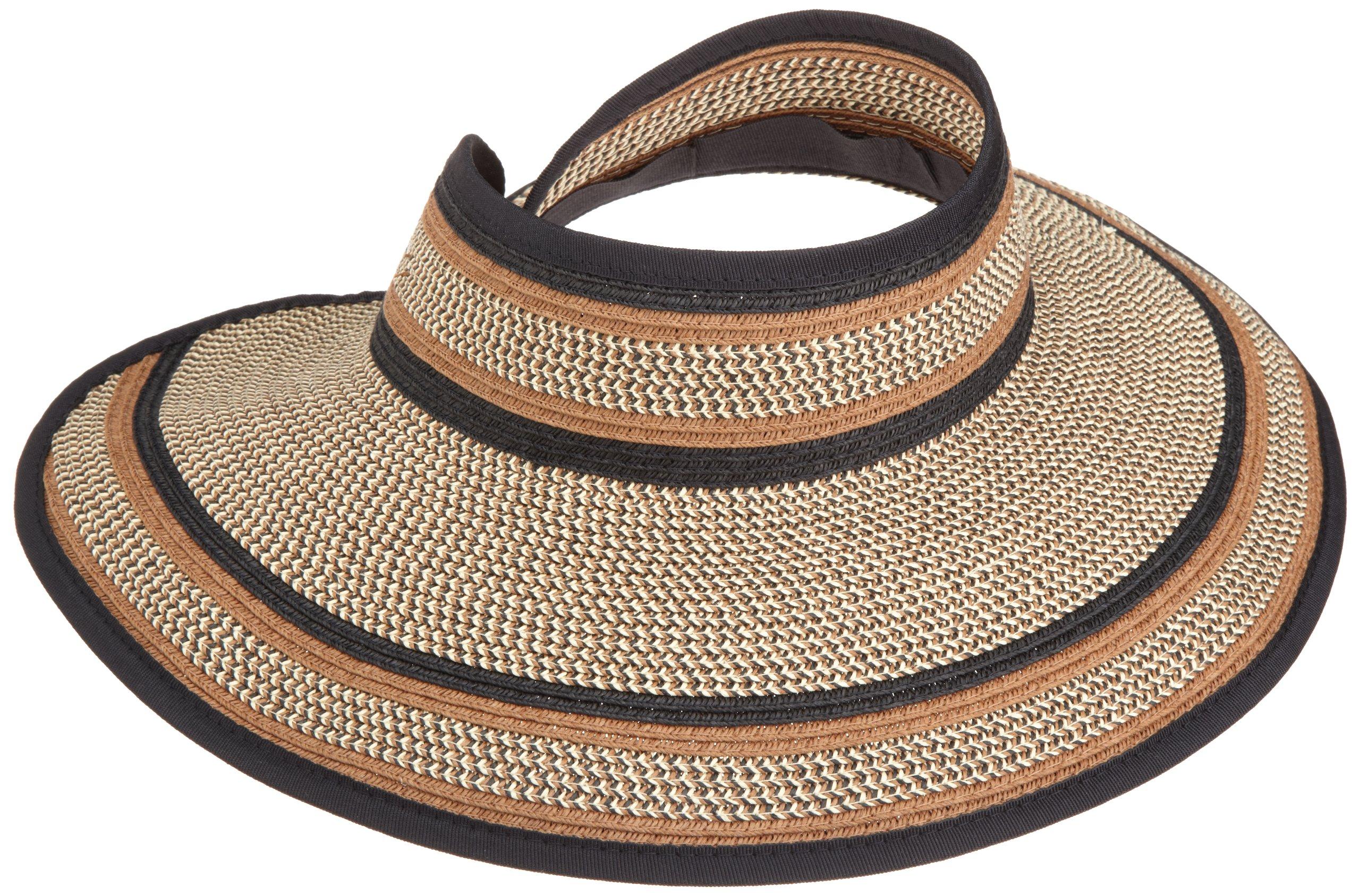 San Diego Hat Company Women's Ultrabraid Visor Hat,Mixed Brown,One Size