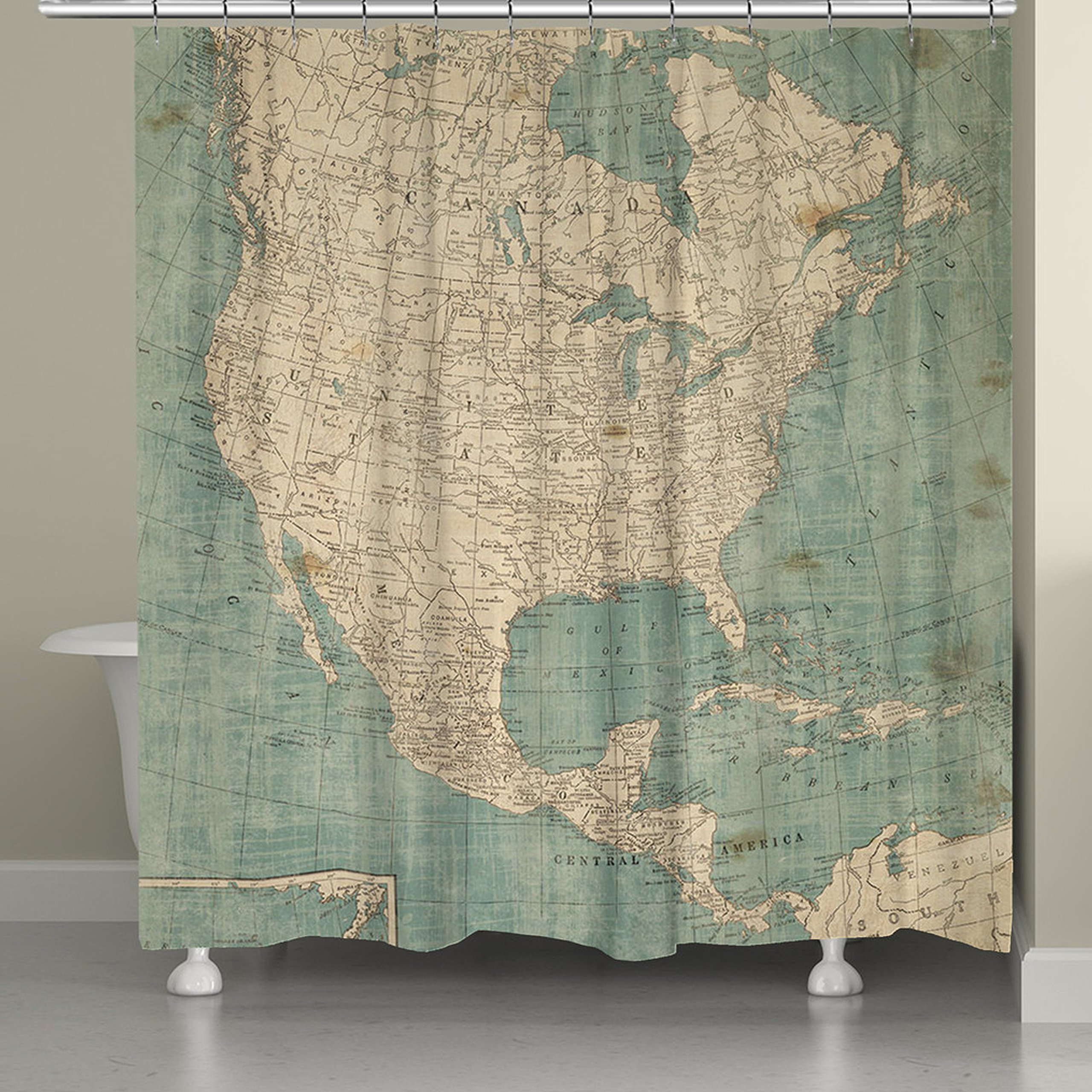 Laural Home NAM72SC North America Map Shower Curtain, Blue/Beige