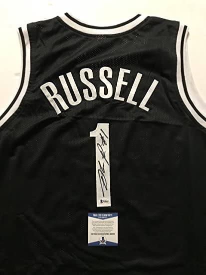 3b9989cc Autographed/Signed D'Angelo Russell Brooklyn Black Basketball Jersey  Beckett BAS COA