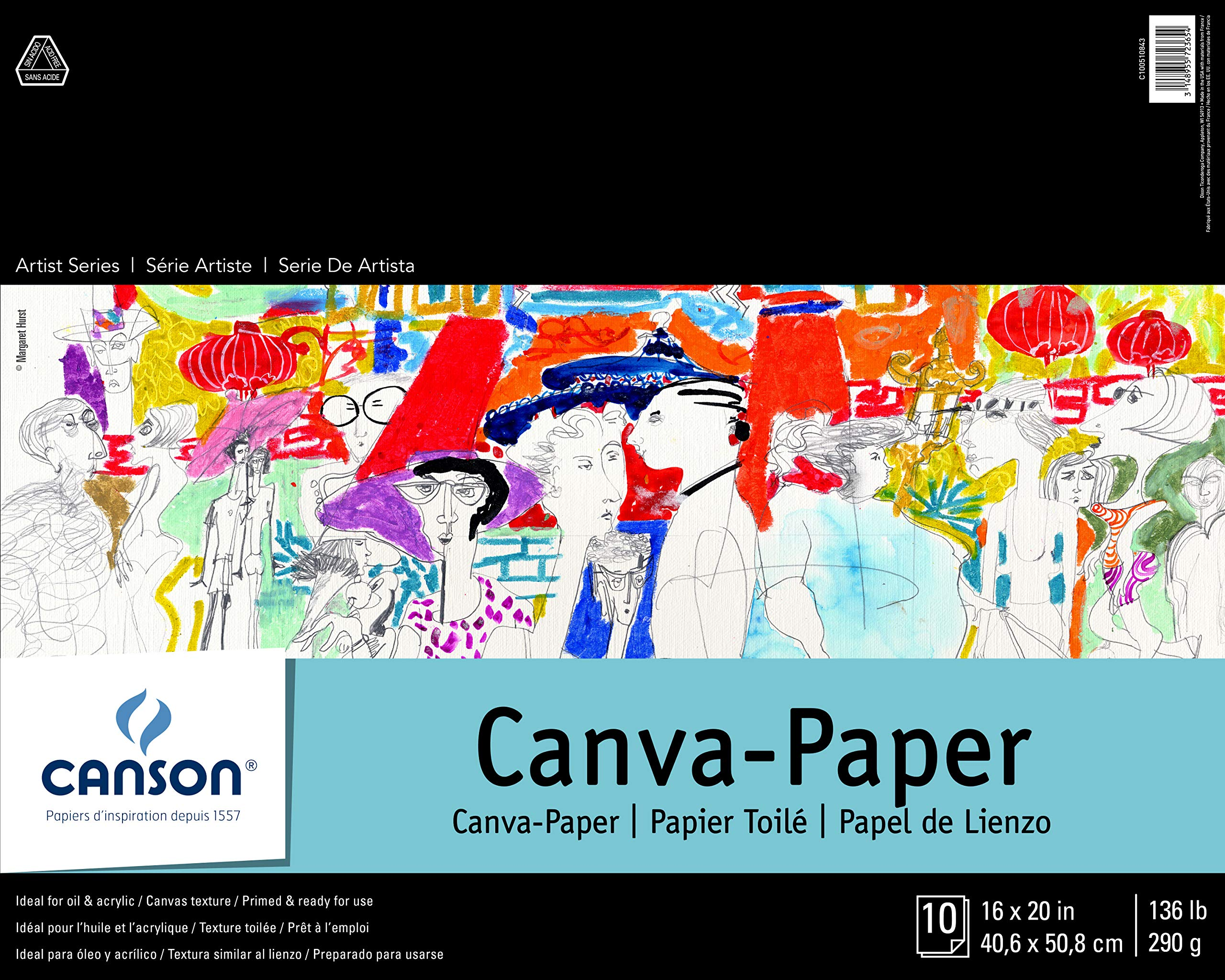 CANSON Foundation Series Canva-Paper Pad Primed for Oil or Acrylic Paints, Top Bound, 136 Pound, 16 x 20 Inch, 10 Sheets, 16'' x 20'', 0 by Canson