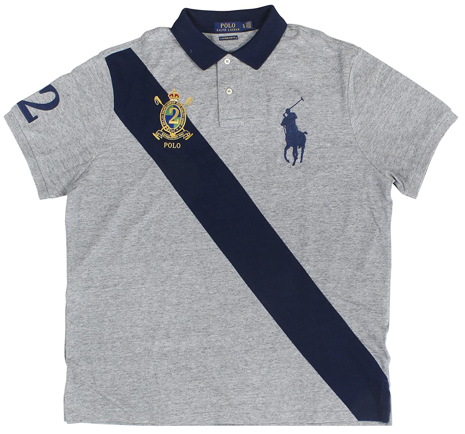 51772f57 Custom Slim Fit; Ribbed Polo collar; Two-button placket. Short sleeves with  ribbed cuffs;