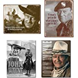 Bundle: Retro Tin John Wayne Sign Set - John Wayne Courage, John Wayne Man's Gotta Do, John Wayne American Legend and…