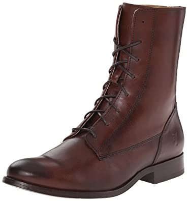 YBW601206 Discount Frye Melissa Lace Short Boot Ankle Boots in Redwood Leather