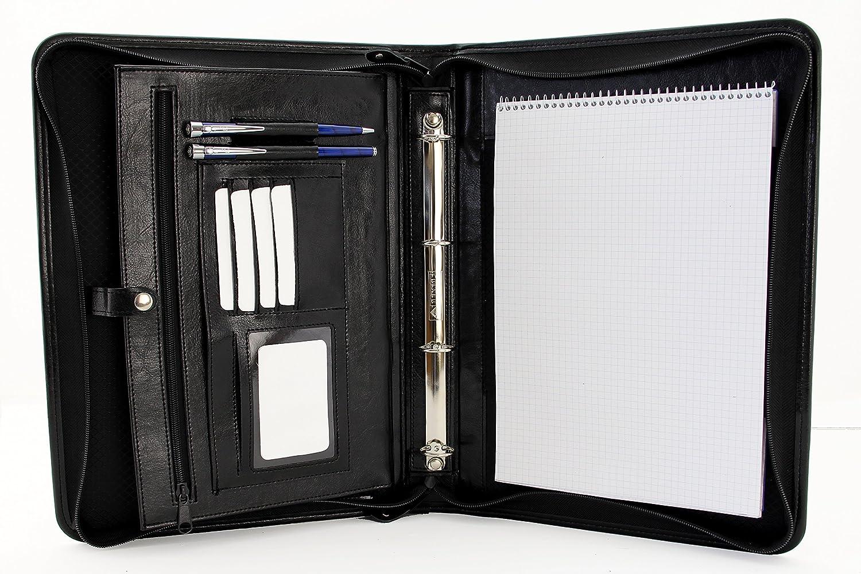 Cartera portadocumentos de piel negocios sintética negocios piel cartera A4 presentación A4 conferencia carpeta Organizador de carpeta de cartón, color negro 32f153